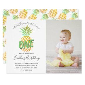 Little Pineapple 1st Birthday Photo Invitation
