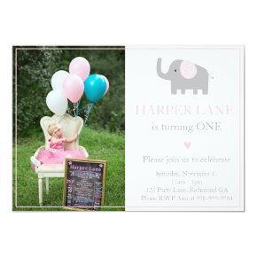 Little Pink and Grey Elephant Birthday Invitation