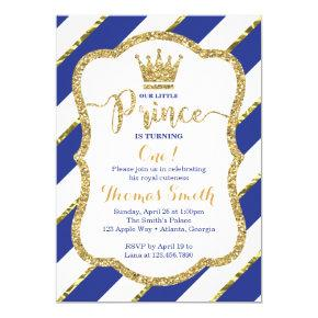 Little Prince Birthday Invitations in Blue & Gold