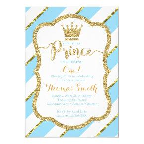 Little Prince Birthday Invitation in Blue & Gold