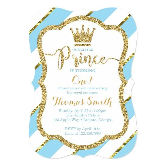 Little Prince Birthday Invitation In Blue Gold Candied Clouds