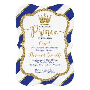 Little Prince Birthday Invitation in Blue & Gold