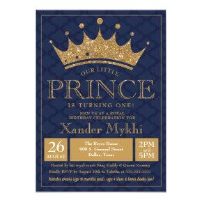 Little Prince Crown Royal Boy Birthday Invitations