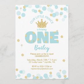 Little Prince First Birthday Blue Gold Invitation