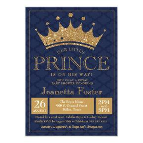 Little Prince Gold Crown Baby Shower Invitation