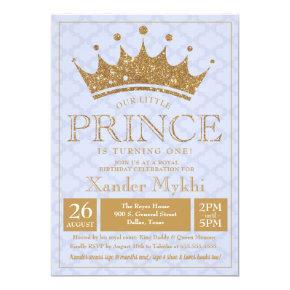 Little Prince Gold Crown Boy Birthday Invitations