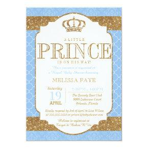Little Prince Royal Baby Blue Gold Baby Shower Invitation
