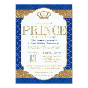 Little Prince Royal Blue Gold Birthday or Shower Card