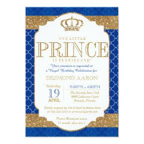 Little Prince Royal Blue Gold Birthday or Shower Invitations