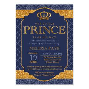 Little Prince Royal Navy Blue Gold Baby Shower Card