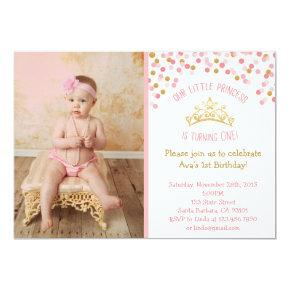 Little Princess Birthday Invitation- Pink and Gold Card