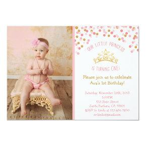 Little Princess Birthday Invitation- Pink and Gold Invitation