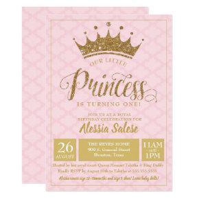 Little Princess Crown Girl 1st Birthday Invitations