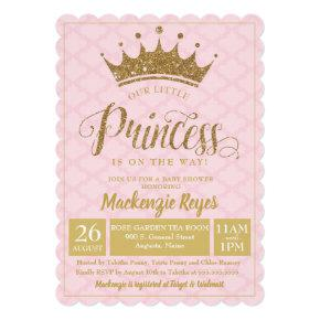 Little Princess Gold Crown Baby Shower Invitations