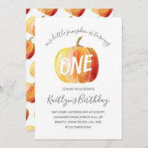 Little Pumpkin 1st Birthday Invitation