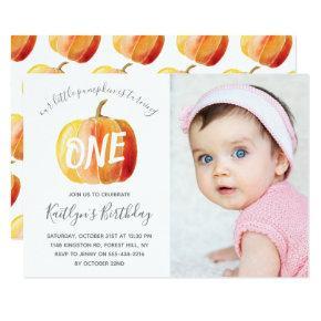 Little Pumpkin 1st Birthday Photo Invitation