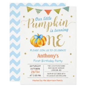 Little Pumpkin Baby Boy First Birthday Party Invitations