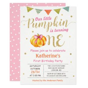 Little Pumpkin Baby Girl First Birthday Party Invitations