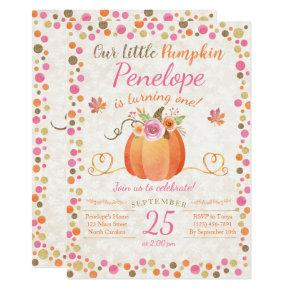 Little Pumpkin Birthday Invitation, Autumn Fall Card