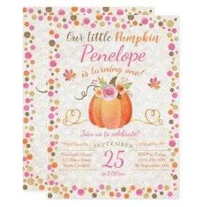 Little Pumpkin Birthday Invitations, Autumn Fall Invitations