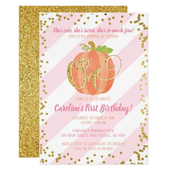 Little Pumpkin Birthday Invitation Pink and Gold