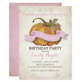 Little Pumpkin Birthday Party Invitations - Girl