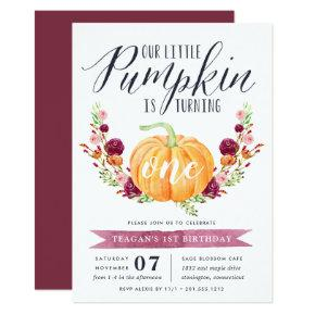 Little Pumpkin Custom Age Birthday Party Invitations