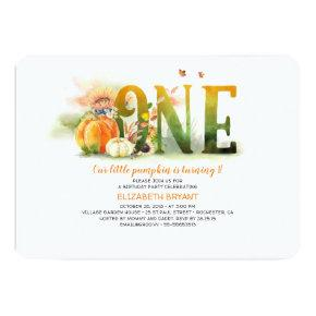 Little Pumpkin Fall 1st Birthday Party Invitation