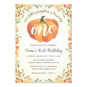 Little Pumpkin Fall Autumn First Birthday Party Invitation