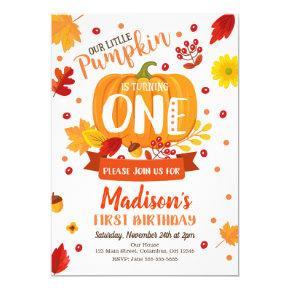 Little Pumpkin First Birthday Invitation