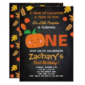 Little Pumpkin First Birthday Invitations, Black Invitations