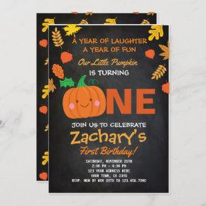 Little Pumpkin First Birthday Invitation, Black Invitation