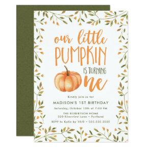 Little Pumpkin | First Birthday Party Invitation