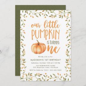 Little Pumpkin | First Birthday Party Invitation