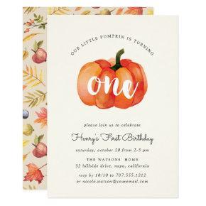 Little Pumpkin First Birthday Party Invitation