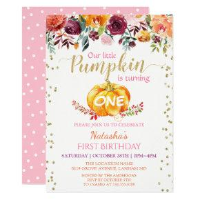 Little Pumpkin Floral Girl Baby 1st Birthday Party Invitation