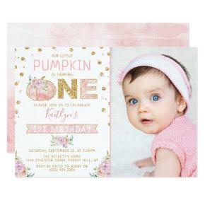 Little Pumpkin Girls 1st Birthday Photo Invitation