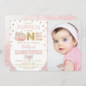 Little Pumpkin Girls 1st Birthday Photo Invitation
