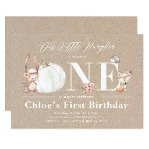 Little Pumpkin is One Fall Birthday Invitations