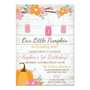 Little Pumpkin Mason Jars Fall Girl First Birthday Invitation