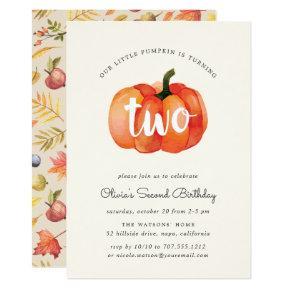Little Pumpkin Second Birthday Party Invitation