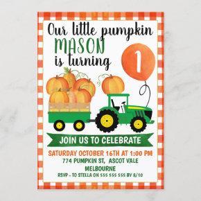 Little Pumpkin Tractor 1st Birthday Invitation