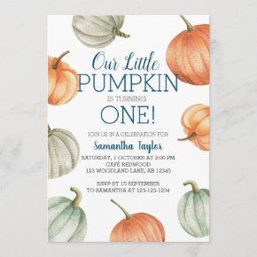 Little Pumpkin, Turning One, 1st Birthday Invitation