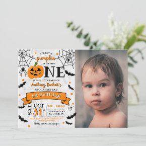 Little Pumpkin Turning One Halloween 1st Birthday Invitation