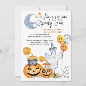 Little Pumpkin Turning One Spooky Fun 1st Birthday Invitation
