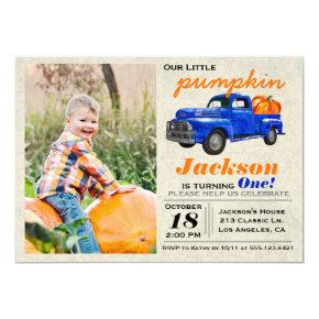 Little Pumpkin Vintage Car Boy Birthday Invitations