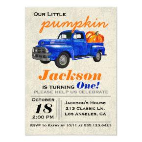 Little Pumpkin Vintage Car Boy Birthday Invitation
