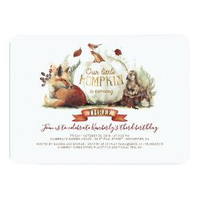 Little Pumpkin Woodland Animals Fall Birthday Invitation