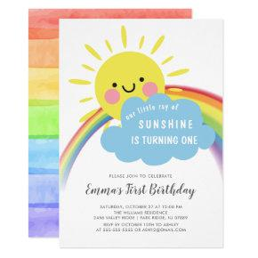 Little Ray Of Sunshine Birthday Invitations
