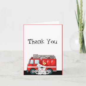 Little Red Fire Truck, Dalmatian Birthday Thank You